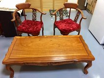 Rosewood coffee table with two rosewood chairs in Okinawa, Japan