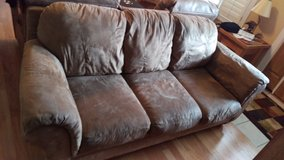 Brown micro fiber couch and recliner in Camp Lejeune, North Carolina