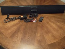 iTrack Sound Bar for TV Has fm, aux for iPod, & Bluetooth with remote, manual, & rca cord in Baytown, Texas