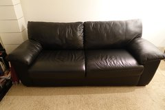 Black REAL Leather Full-Size Sofa Sleeper Couch - WITH LOCAL DELIVERY! in Los Angeles, California