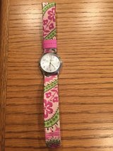 Vera Bradley Watch - Pink Bermuda Band with Silver Bezel - New Battery! in Bolingbrook, Illinois