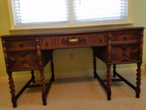 Unique Antique Desk with Barley Twist Legs in Cherry Point, North Carolina