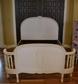 "Vintage white full size Bed. ""Shabby Chic"" Spindled curved footboard in Morris, Illinois"