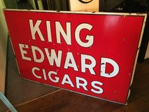 LARGE DOUBLE SIDED PORCELAIN KING EDWARDS CIGAR SIGN in Moody AFB, Georgia