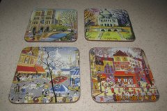 Set Of 4 Paris-Scenes Coasters - New in Houston, Texas