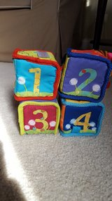 Bright Starts rattle and bell soft baby blocks in Bartlett, Illinois