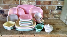 36 piece set of vintage, mid-century MELMAC ware, dishes, serving platters/bowls, cups and sauce... in Conroe, Texas