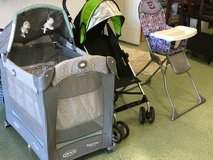 Travel crib, Stroller and high chair in Camp Lejeune, North Carolina