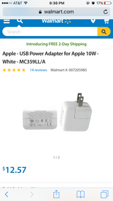 NEW apple 10W adapter with USB cable in Biloxi, Mississippi