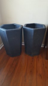 Wicker basket plant holders in Chicago, Illinois