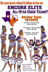 All-Star Competitive Cheer Team Tryouts in Liberty, Texas