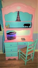 Custom finished girls' desk with hutch and coordinating chair and a little bit of BLING! in Bartlett, Illinois