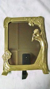 Beautiful and unique Vintage solid Brass framed table mirror, 3-D lady and raised flowers on frame in Conroe, Texas