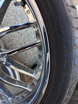 20 inch chrome rims new tires five lugs 4x4 4.5 tire size 245/40-ZR20 do not have the center caps in Elgin, Illinois