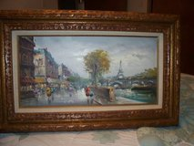 oil painting signed Paris  framed in carved solid wood/  large 2 x 2 in Morris, Illinois