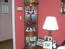 Wood corner unit display case  6 ft x 2 ft  curved glass/dbl entry in Morris, Illinois