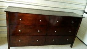 Chocolate color dresser with 6 drawers all wood made in Fort Bliss, Texas