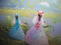 oil painting wood framed large ladies in the field in Morris, Illinois