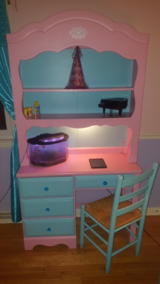 Beautifully refinished /refurbished girls' desk with light and chair and BLING !! in Bartlett, Illinois