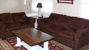 Couch and love seat brown microsuede like new in Camp Lejeune, North Carolina