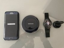 Samsung Galaxy S6 edge + Gear S Watch including dock + 2 Qi Wirless Charging Stations in Ramstein, Germany