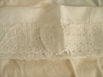 SNOW WHITE EYELET RUFFLED Curtain 66 x 45 with Tiebacks Made in USA in Wilmington, North Carolina