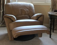 Leather Chair, Natural color - reclines & swivels 2 are available, will sell individually in Elgin, Illinois