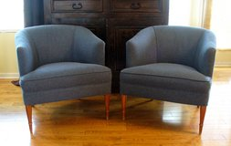 1950s Danish Mid Century Modern Club Chairs Set in Blue Wool in Naperville, Illinois