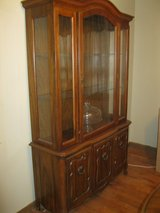 Table, Hutch and 6 Chairs, Pecan Finish Veneer purchased in 1976 in Lawton, Oklahoma