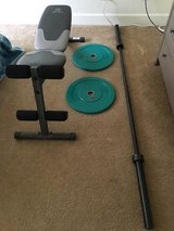Olympic Bar, Bumper plates & Bench in Alamogordo, New Mexico