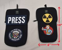Need 4 patches sewn onto 2 Rubber pouches - Rubber is the kind wetsuits are made of in Yucca Valley, California