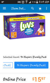 Unopened box of size 3 Luvs diapers 92 count in Camp Lejeune, North Carolina