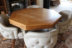 3 in 1 Oak Table - table/poker/bumper pool with 4 leather captain rocker/swivel chairs in Algonquin, Illinois