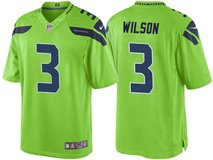 RUSSELL WILSON Stitched Nike NFL Adult Large & XL (white, gray, blue, rush green)  Jersey (NEW) in Tacoma, Washington
