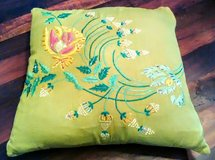 Vintage Silk & Cotton Beaded Accent Pillow in Wilmington, North Carolina
