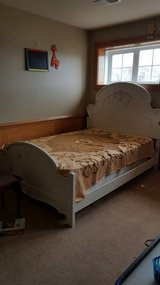 Girls white double bed with mattress and box in Bolingbrook, Illinois