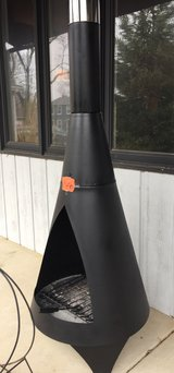 Wrought iron chiminea in Chicago, Illinois