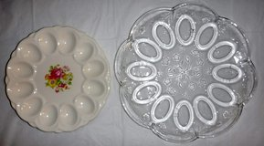 "Vintage 40s E&R American Art floral ~9"" -OR- Clear Glass ~12"" deviled egg plate dish / tray/platter in Bolingbrook, Illinois"
