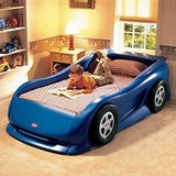 Little Tikes Twin Blue Race Car bed in Tinley Park, Illinois