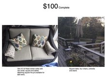 Patio or Deck Furniture Set, 2 Sofas, Table and 4 Chairs, Fire Pit Available in Chicago, Illinois