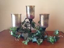"Metal Candle Holder w/3 Glass Shades & Vines - 16"" L x 14"" H in Chicago, Illinois"
