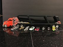 Hot Wheels Load & Unload Trailer plus 8 Hot Wheels vehicles in Lockport, Illinois