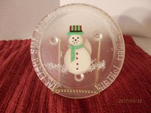 """6"""" Star Light-Star Bright Snowman Candle Plate in Naperville, Illinois"""