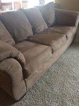 Like new brown faux suede couch in Bolingbrook, Illinois