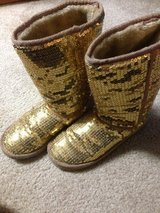 Women's gold sequence boots size 8 in Aurora, Illinois