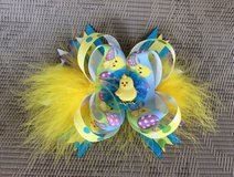 Easter big stack up Bow with feathers. in Byron, Georgia