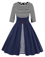 1950's Navy Colored Retro Dress in Camp Pendleton, California