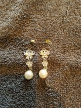 Silver crystal drop earrings with pearls in Naperville, Illinois
