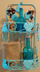 Textured Ocean Blue Hanging Metal Basket Shelf in Wilmington, North Carolina