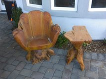 spinning chair and foot rest carved out of banyan tree from Hawaii in Las Vegas, Nevada